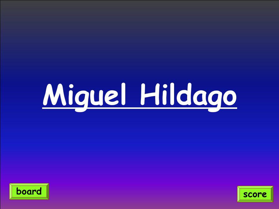 Miguel Hildago score board