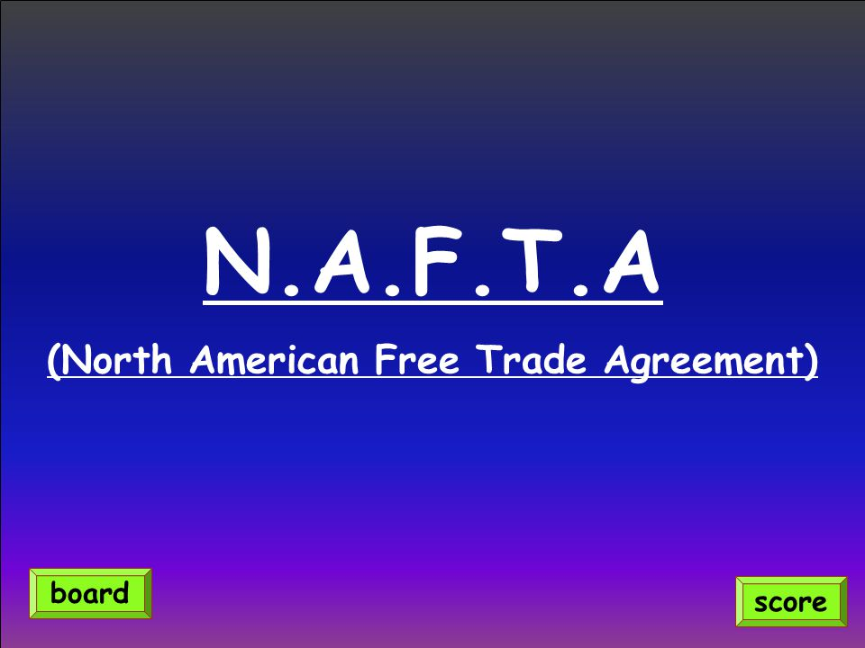 N.A.F.T.A (North American Free Trade Agreement) score board