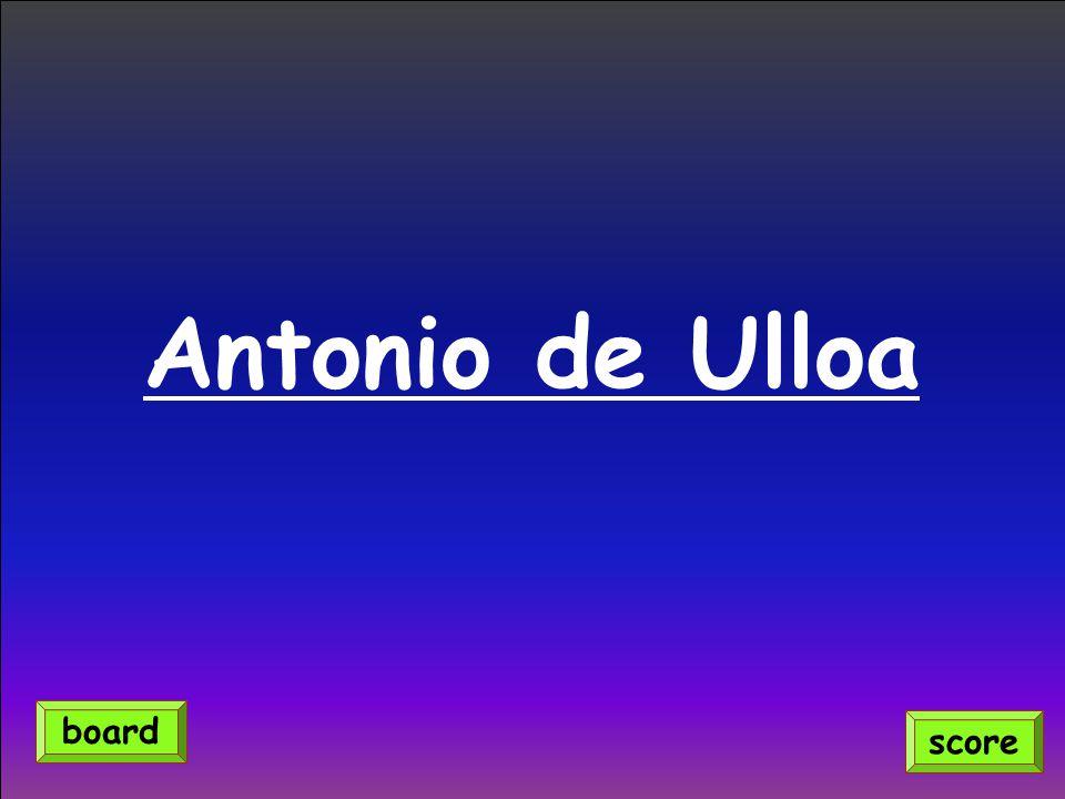Antonio de Ulloa score board