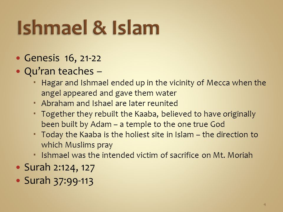 Genesis 16, 21-22 Qu'ran teaches –  Hagar and Ishmael ended up in the vicinity of Mecca when the angel appeared and gave them water  Abraham and Ish