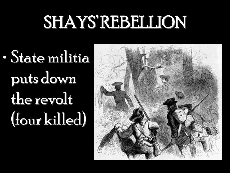 SHAYS' REBELLION State militia puts down the revolt (four killed)State militia puts down the revolt (four killed)