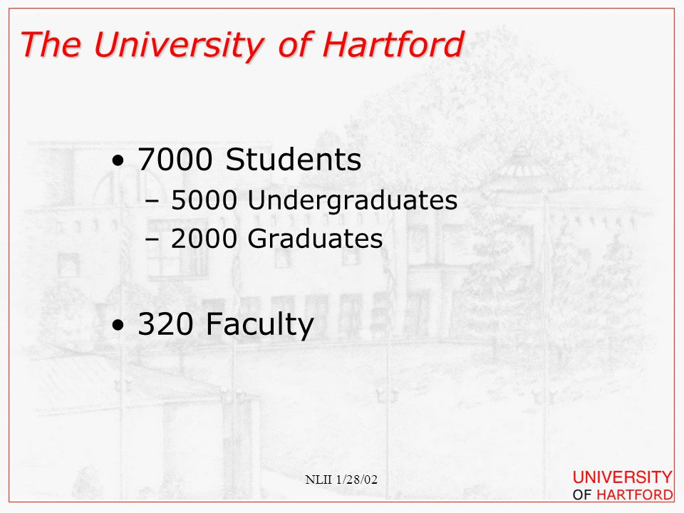 NLII 1/28/02 The University of Hartford Combining Engagement with Readiness Assessment: One Year Later