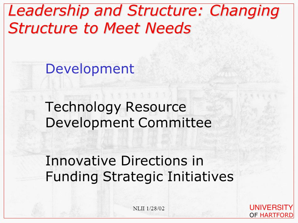NLII 1/28/02 Policy Technology Policy Committee Implementation of Strategic Goals Leadership and Structure: Changing Structure to Meet Needs
