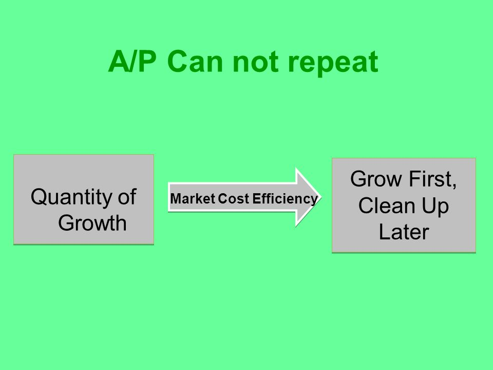 A/P Can not repeat Quantity of Growth Grow First, Clean Up Later Market Cost Efficiency