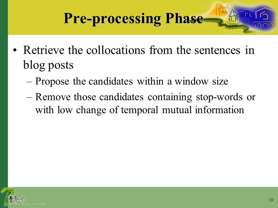 10 Pre-processing Phase Retrieve the collocations from the sentences in blog posts –Propose the candidates within a window size –Remove those candidat