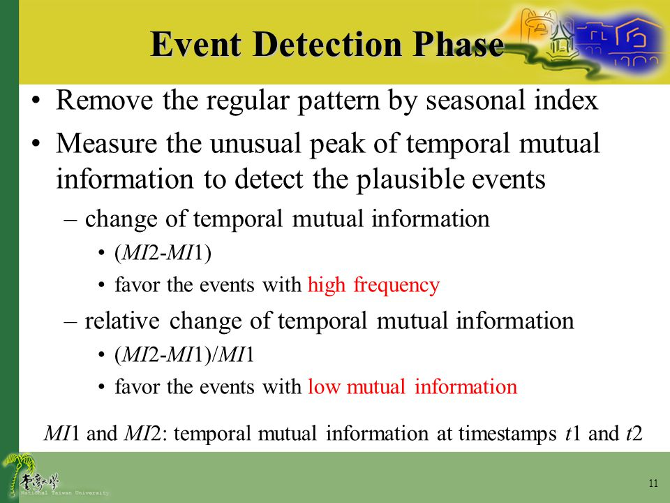 11 Event Detection Phase Remove the regular pattern by seasonal index Measure the unusual peak of temporal mutual information to detect the plausible