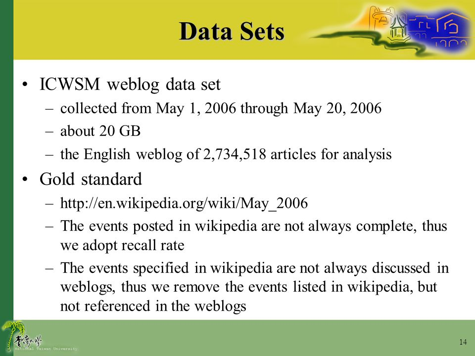 14 Data Sets ICWSM weblog data set –collected from May 1, 2006 through May 20, 2006 –about 20 GB –the English weblog of 2,734,518 articles for analysi