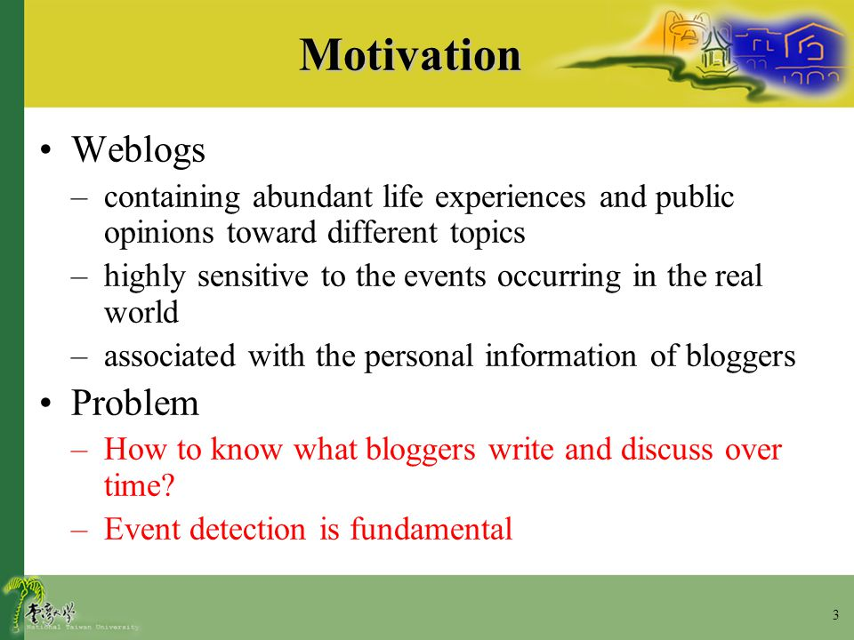 24 Concluding Remarks The works we have done –Introduce temporal mutual information to capture term-term association over time in weblogs –Select the extracted collocation with unusual peak in terms of relative change of temporal mutual information to represent an event –Collect those collocations with the highest product of mutual information and change of temporal mutual information to summarize the specific event Future works –Model the collocations over time and location –Model the relationship between the user-preferred usage of collocations and the profile of users