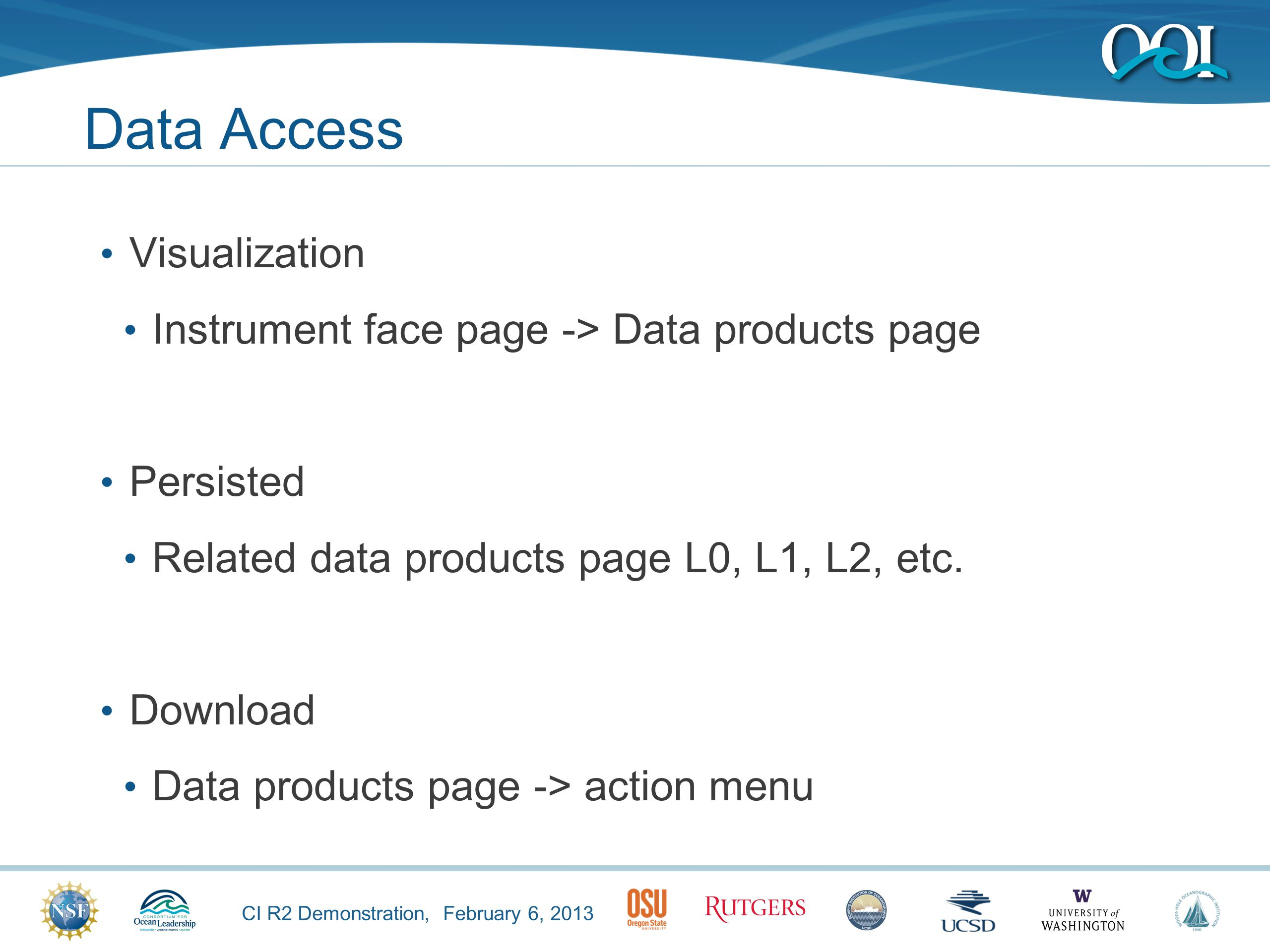 CI R2 Demonstration, February 6, 2013 Data Access Visualization Instrument face page -> Data products page Persisted Related data products page L0, L1, L2, etc.