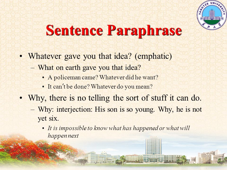Sentence Paraphrase Whatever gave you that idea. (emphatic) –What on earth gave you that idea.