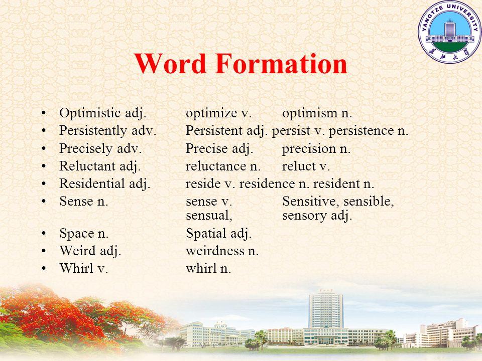 Word Formation Optimistic adj. optimize v. optimism n.