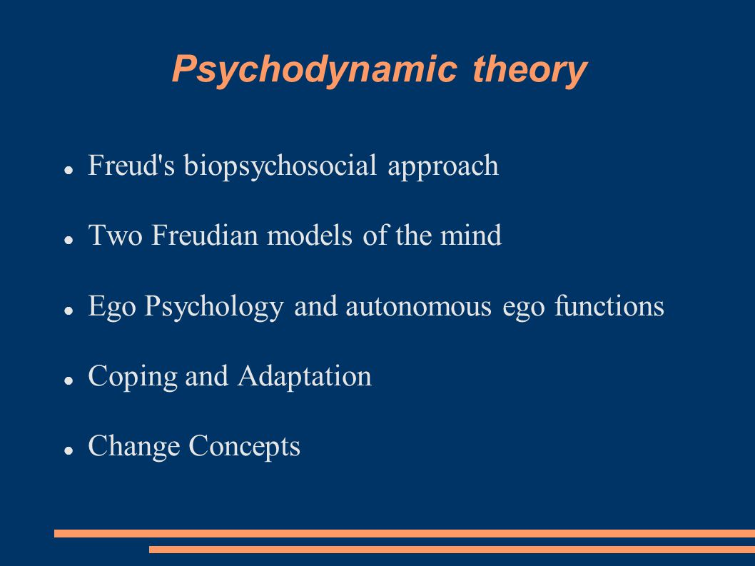 Psychodynamic Theory is NOT just one theory… It is a set of theories  Drive or structural theory  Ego Psychology  Object Relations Theory  Self Psychology  Relational Theory Our focus today:  Classical theory (drive theory & ego psychology) Focus of advanced psychodynamic theory (SSS 723):  Contemporary theories (object relations, self psychology, & relational theory)