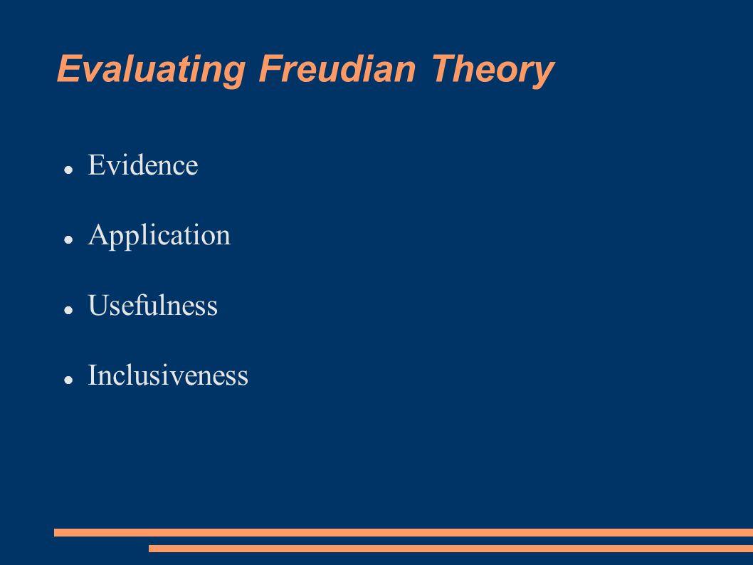 Evaluating Freudian Theory Evidence Application Usefulness Inclusiveness
