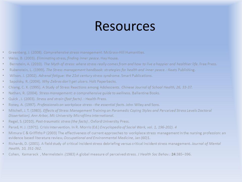 Resources Greenberg, J. (2008). Comprehensive stress management.