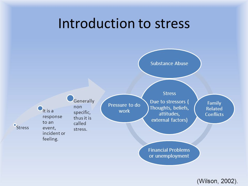 Introduction to stress Stress It is a response to an event, incident or feeling.