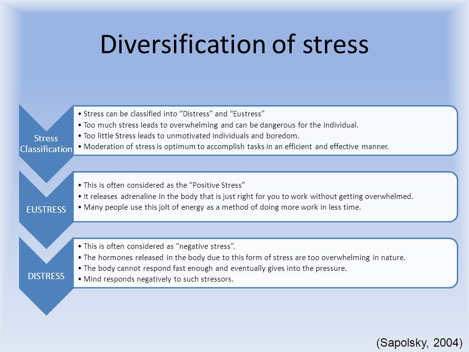 Diversification of stress Stress Classification Stress can be classified into Distress and Eustress Too much stress leads to overwhelming and can be dangerous for the individual.