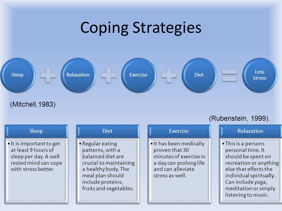Coping Strategies SleepRelaxationExerciseDiet Less Stress Sleep It is important to get at least 9 hours of sleep per day.