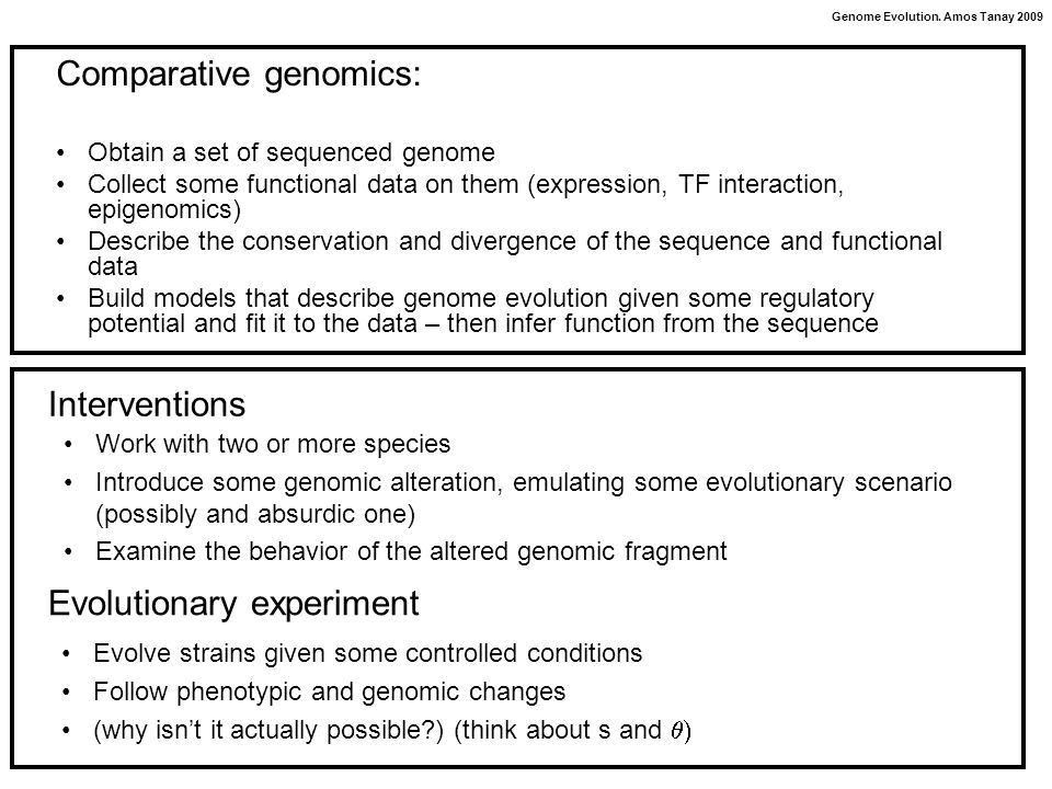 Genome Evolution. Amos Tanay 2009 Comparative genomics: Obtain a set of sequenced genome Collect some functional data on them (expression, TF interact