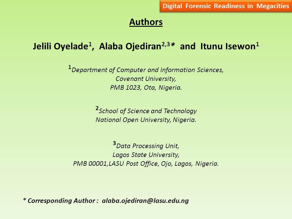 Authors Jelili Oyelade 1, Alaba Ojediran 2,3 * and Itunu Isewon 1 1 Department of Computer and Information Sciences, Covenant University, PMB 1023, Ota, Nigeria.