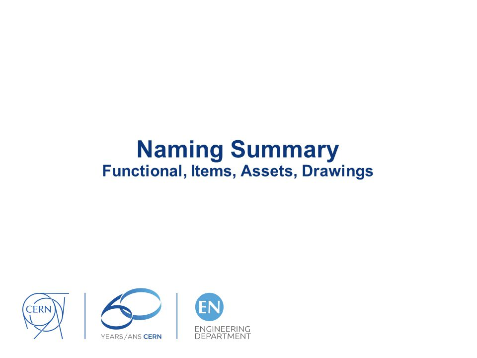 Naming Summary Functional, Items, Assets, Drawings