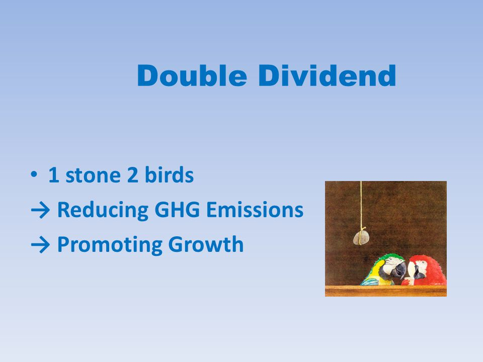 Double Dividend 1 stone 2 birds → Reducing GHG Emissions → Promoting Growth