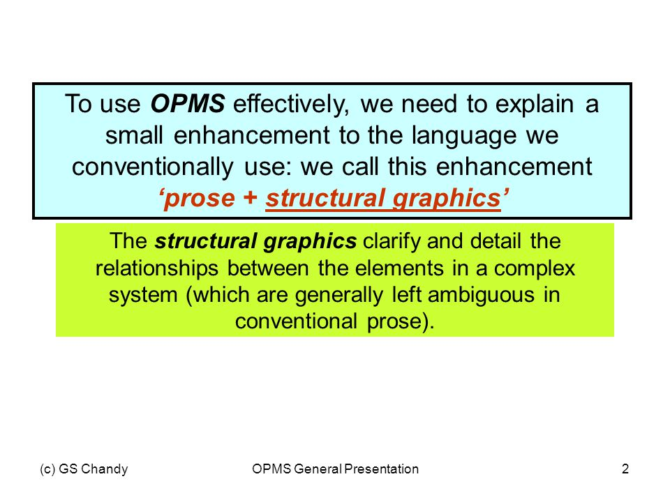(c) GS ChandyOPMS General Presentation2 To use OPMS effectively, we need to explain a small enhancement to the language we conventionally use: we call