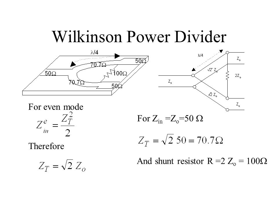 Wilkinson Power Divider For even mode Therefore For Z in =Z o =50  And shunt resistor R =2 Z o = 100 