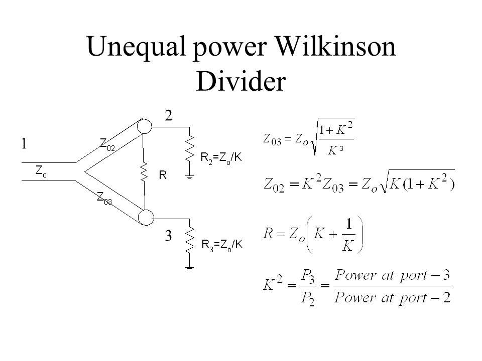 Unequal power Wilkinson Divider 1 2 3