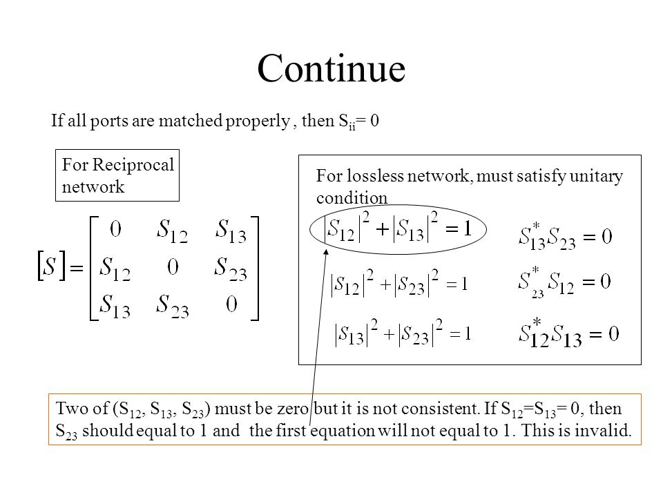Continue If all ports are matched properly, then S ii = 0 For Reciprocal network For lossless network, must satisfy unitary condition Two of (S 12, S