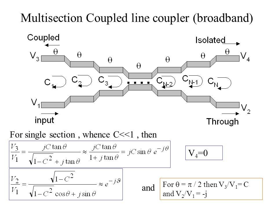 Multisection Coupled line coupler (broadband) For single section, whence C<<1, then V 4 =0 and For  =  / 2 then V 3 /V 1 = C and V 2 /V 1 = -j