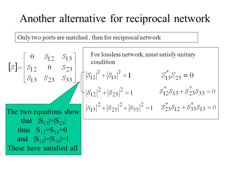 Another alternative for reciprocal network Only two ports are matched, then for reciprocal network For lossless network, must satisfy unitary conditio