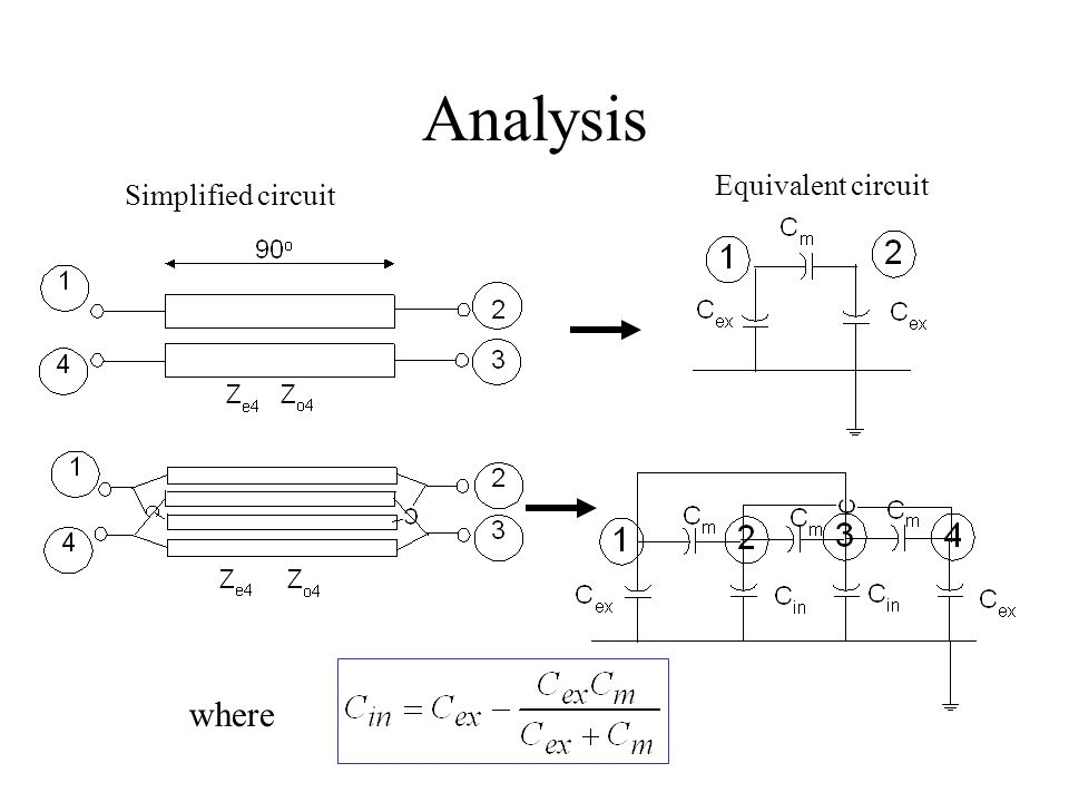Analysis Simplified circuit Equivalent circuit where