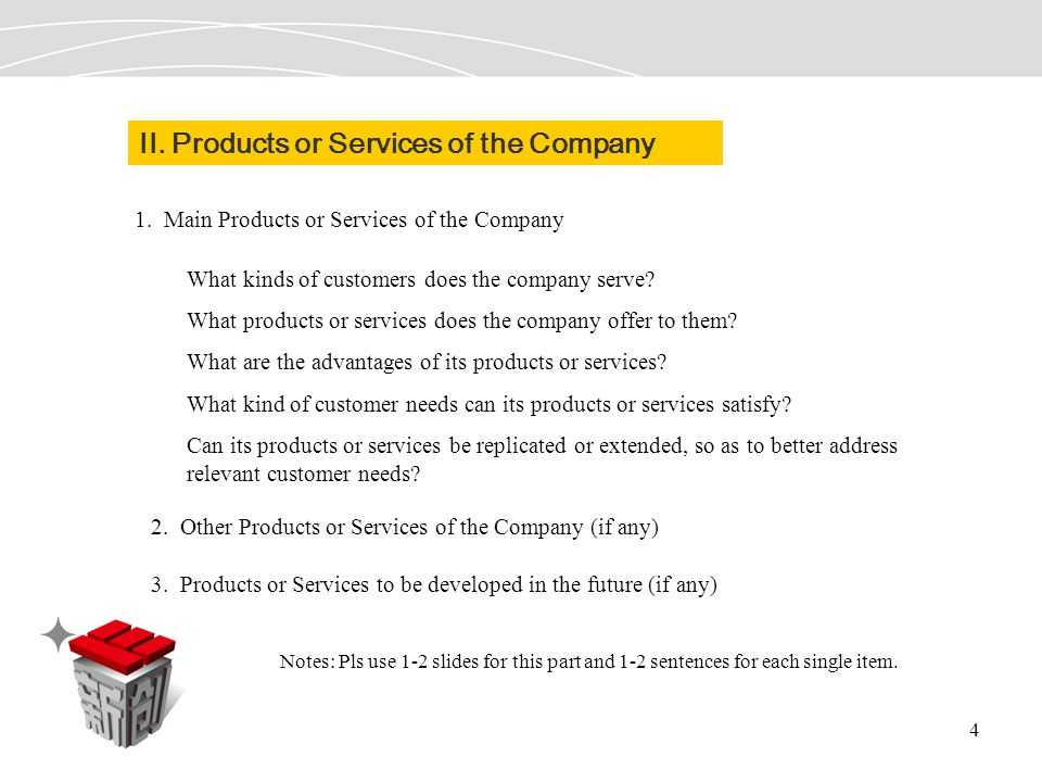 4 II. Products or Services of the Company 1.