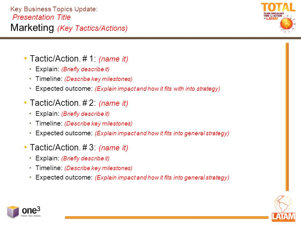 Key Business Topics Update: Presentation Title Marketing (Key Tactics/Actions) Tactic/Action.
