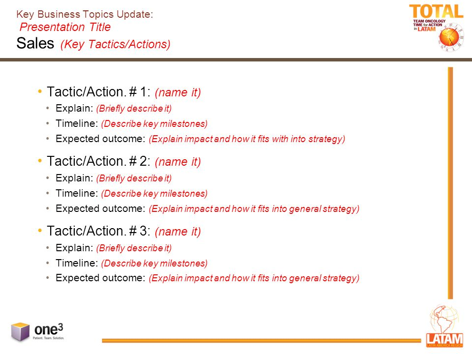 Key Business Topics Update: Presentation Title Sales (Key Tactics/Actions) Tactic/Action.
