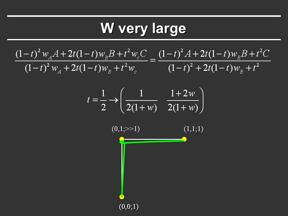W very large (0,0;1) (0,1;>>1)(1,1;1)