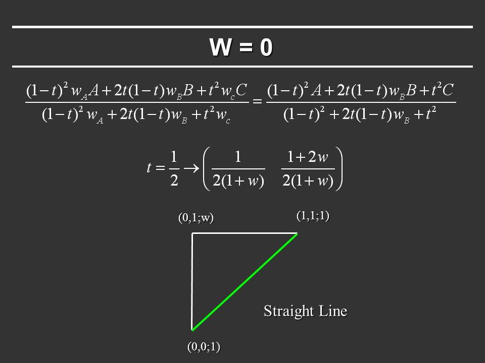 W = 0 (0,0;1) (1,1;1) Straight Line (0,1;w)