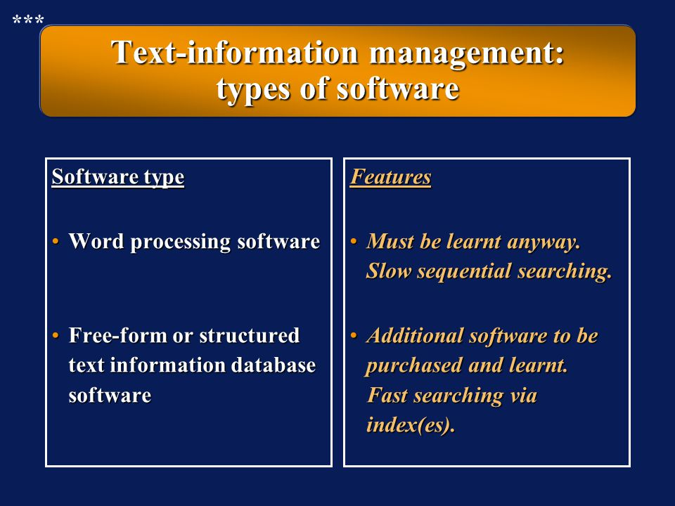 Text-information management: from free-form to structure Free form text information without structure Text database with information structured in fil