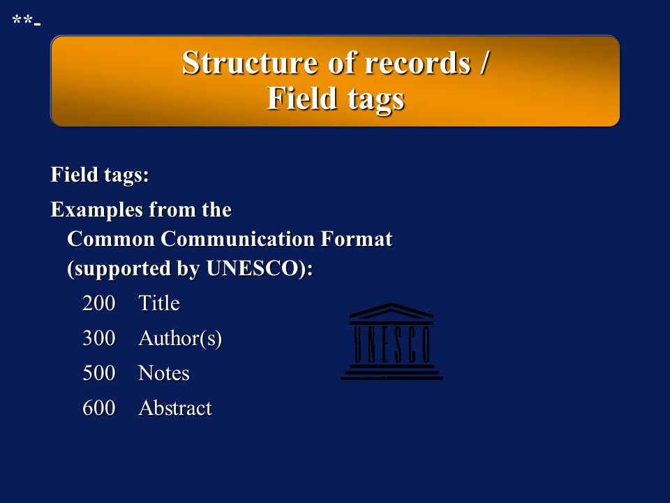 The various formats of records in a database Input format = Edit format Internal format for long term storage Display format for output to display, pr