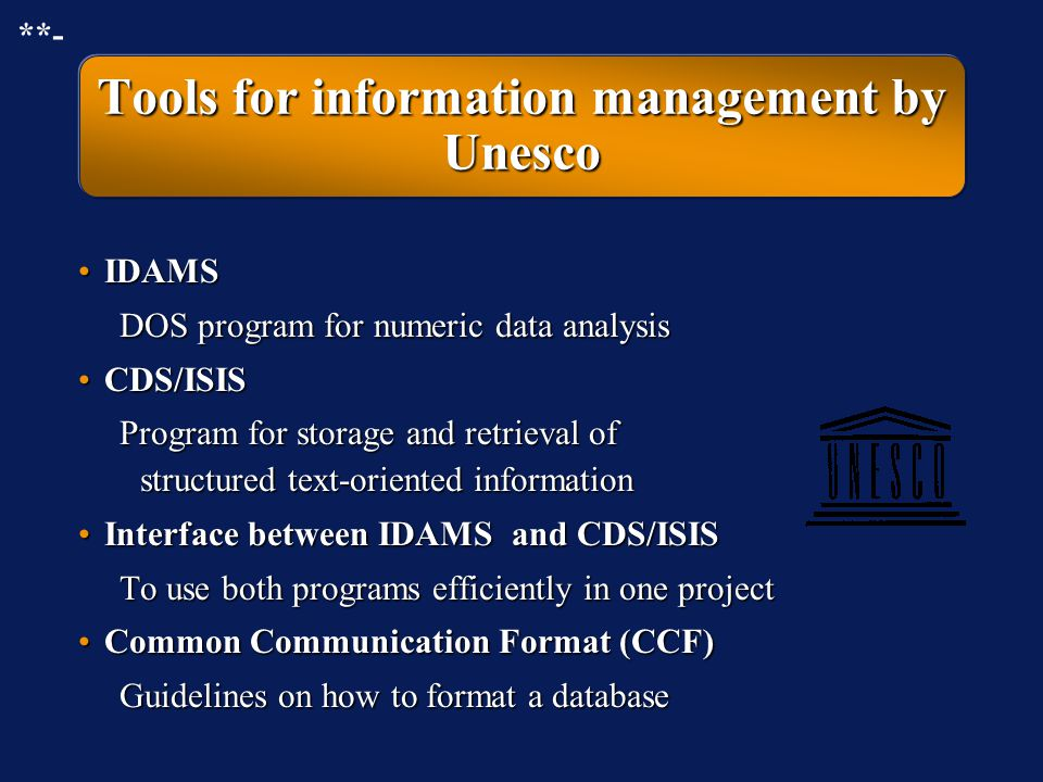 Unesco's involvement with information management Unesco - General Information ProgrammeUnesco - General Information Programme »Computer programs for i