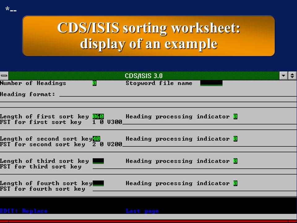 CDS/ISIS printing worksheet: display of an example *--