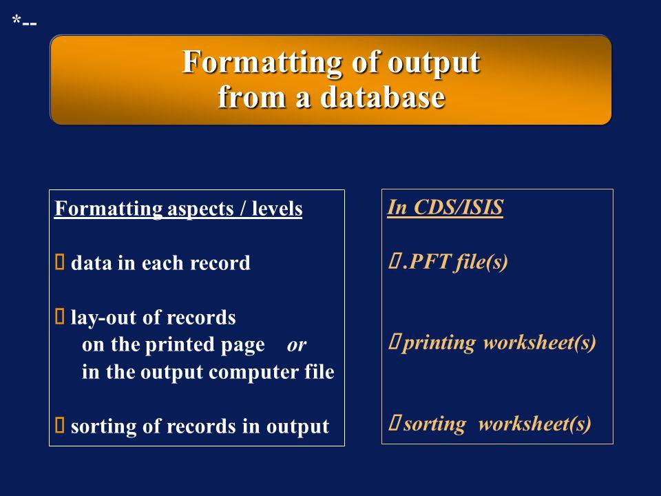 CDS/ISIS sorting worksheet: display of an example *--