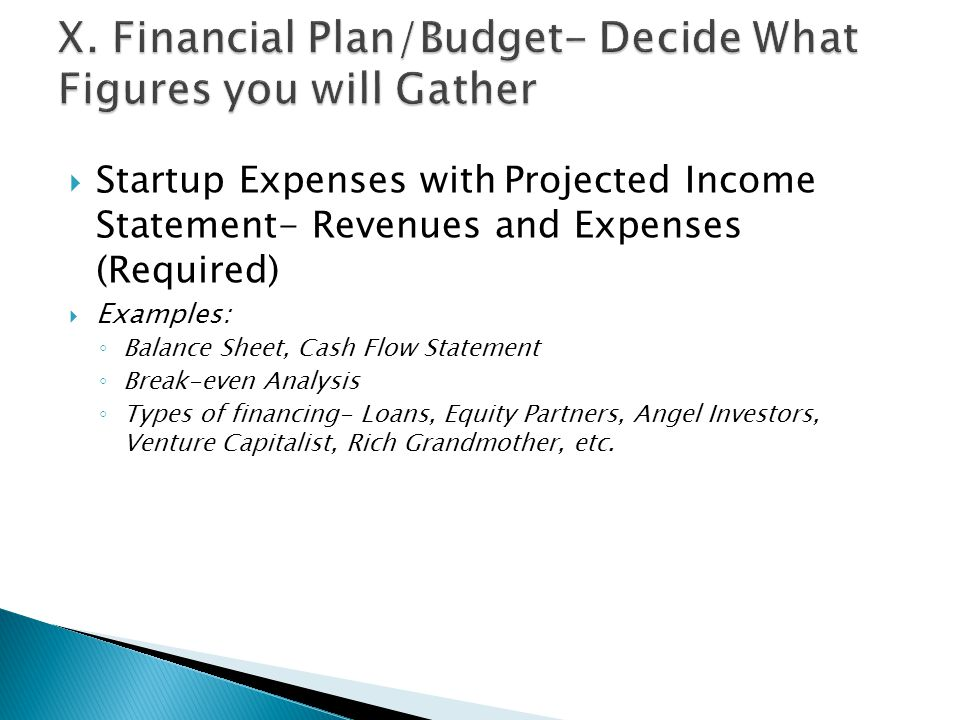  Startup Expenses with Projected Income Statement- Revenues and Expenses (Required)  Examples: ◦ Balance Sheet, Cash Flow Statement ◦ Break-even Analysis ◦ Types of financing- Loans, Equity Partners, Angel Investors, Venture Capitalist, Rich Grandmother, etc.