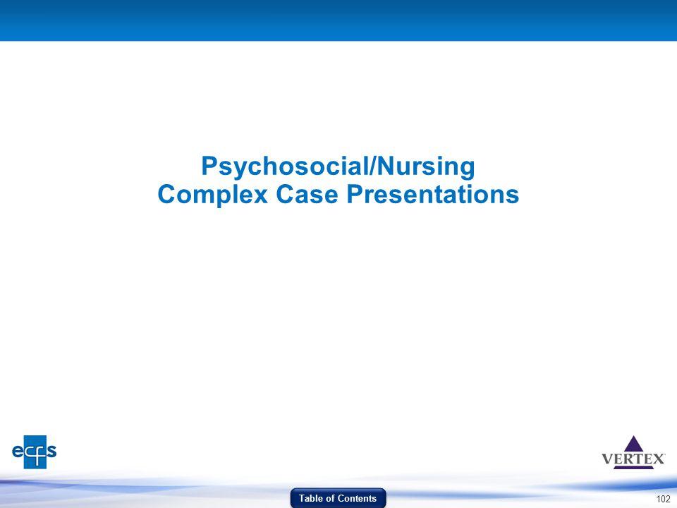 102 Psychosocial/Nursing Complex Case Presentations Table of Contents