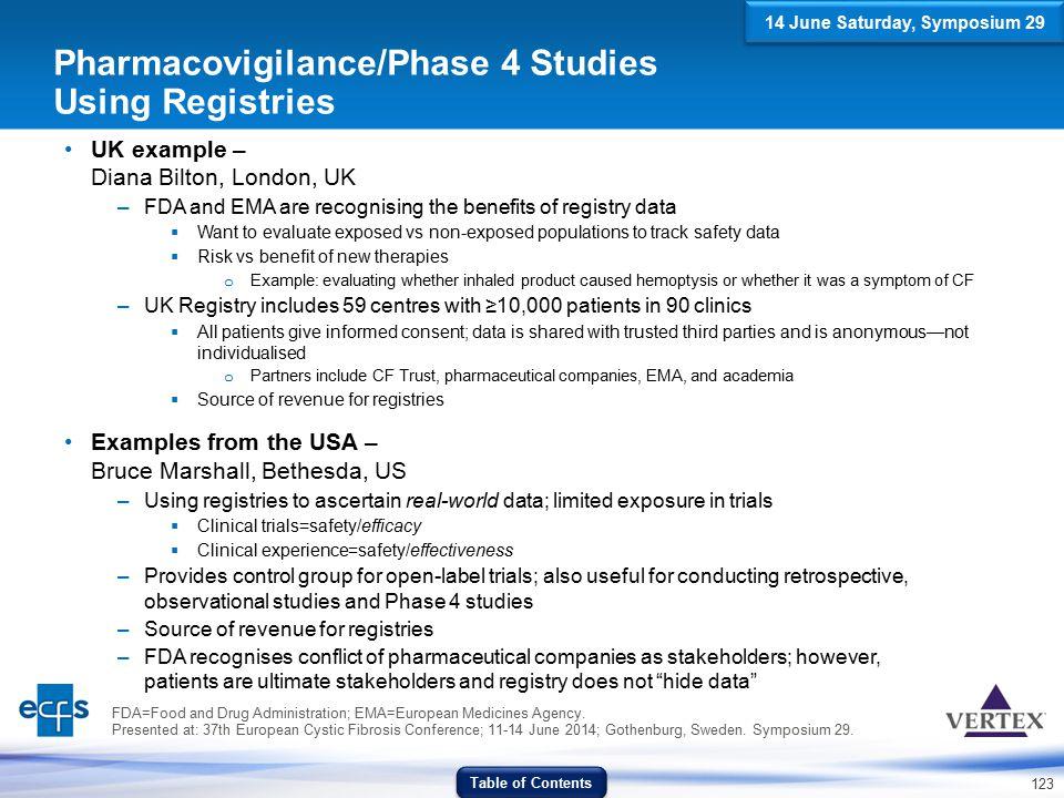123 Pharmacovigilance/Phase 4 Studies Using Registries UK example – Diana Bilton, London, UK –FDA and EMA are recognising the benefits of registry dat