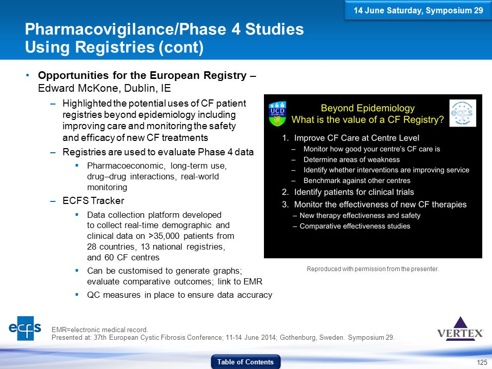 125 Opportunities for the European Registry – Edward McKone, Dublin, IE –Highlighted the potential uses of CF patient registries beyond epidemiology i