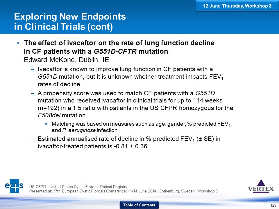 129 Exploring New Endpoints in Clinical Trials (cont) The effect of ivacaftor on the rate of lung function decline in CF patients with a G551D-CFTR mu