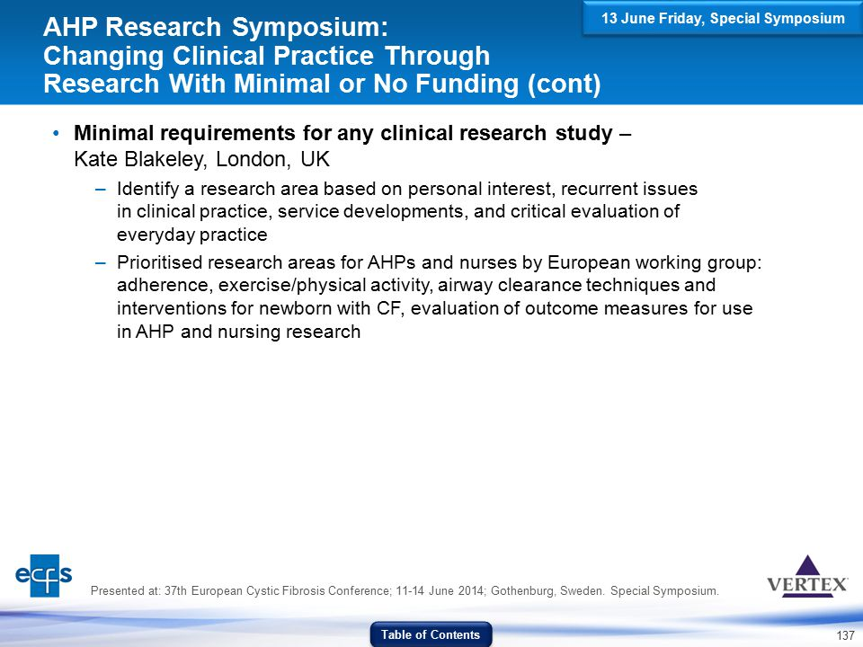 137 AHP Research Symposium: Changing Clinical Practice Through Research With Minimal or No Funding (cont) Minimal requirements for any clinical resear