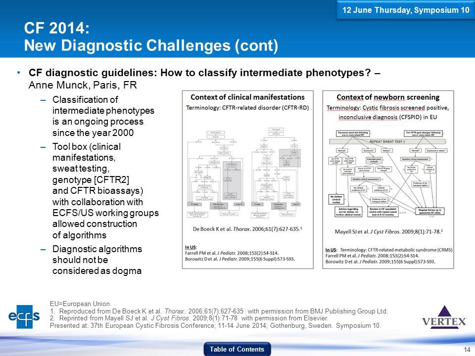 14 CF 2014: New Diagnostic Challenges (cont) CF diagnostic guidelines: How to classify intermediate phenotypes? – Anne Munck, Paris, FR –Classificatio