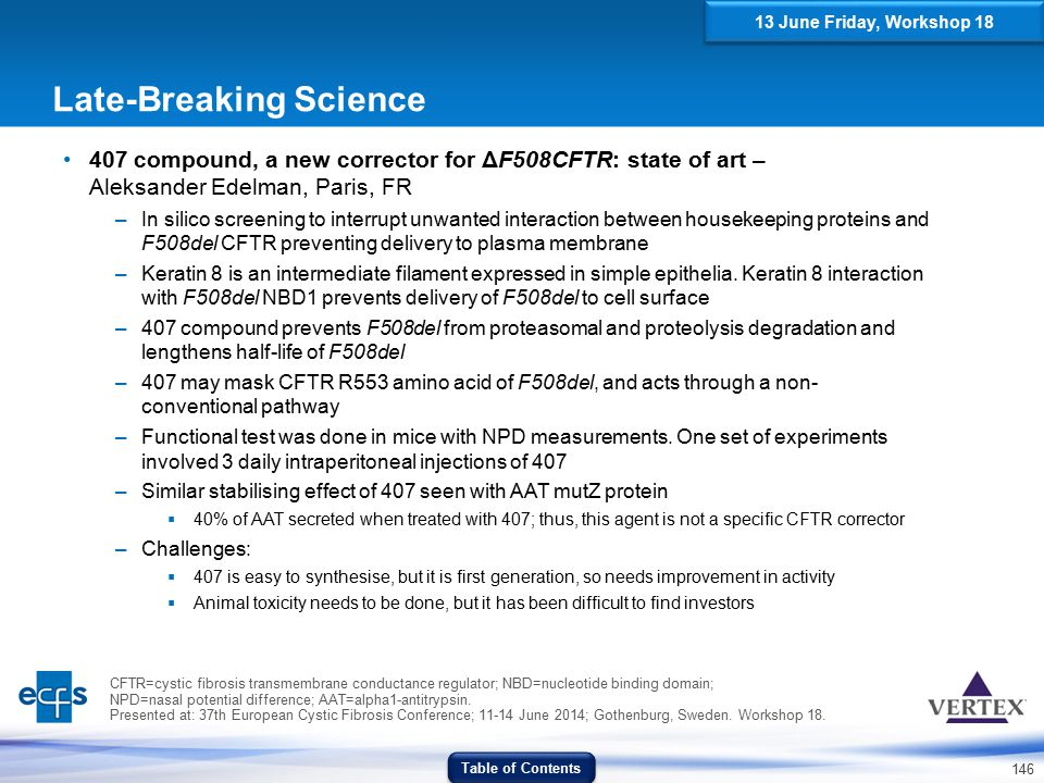 146 Late-Breaking Science 407 compound, a new corrector for ΔF508CFTR: state of art – Aleksander Edelman, Paris, FR –In silico screening to interrupt